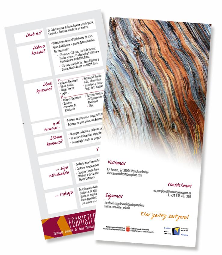 Escuela de arte y diseño superior Pamplona - folleto ebanistería artística