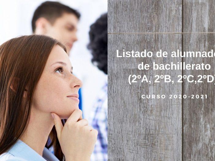 Escuela Arte Pamplona - Listado alumnos 2do bachiller 2020-2021